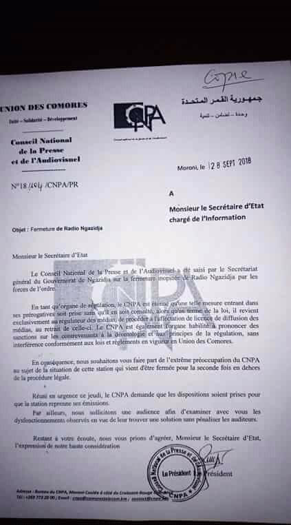 Fermeture de Radio Ngazidja, le CNPA va-t-il tenir tête au tout puissant Ministère de l'intérieur et de l'information?