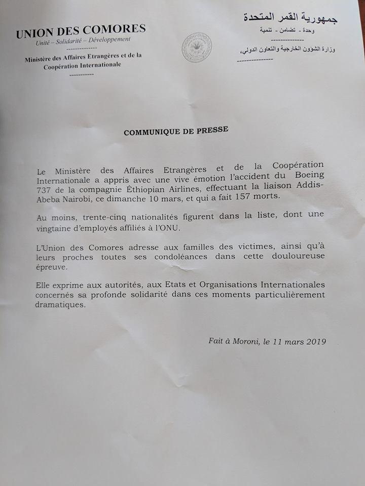 Un membre du gouvernement doit se rendre en Éthiopie exprimer la peine des Comoriens au peuple frère éthiopien