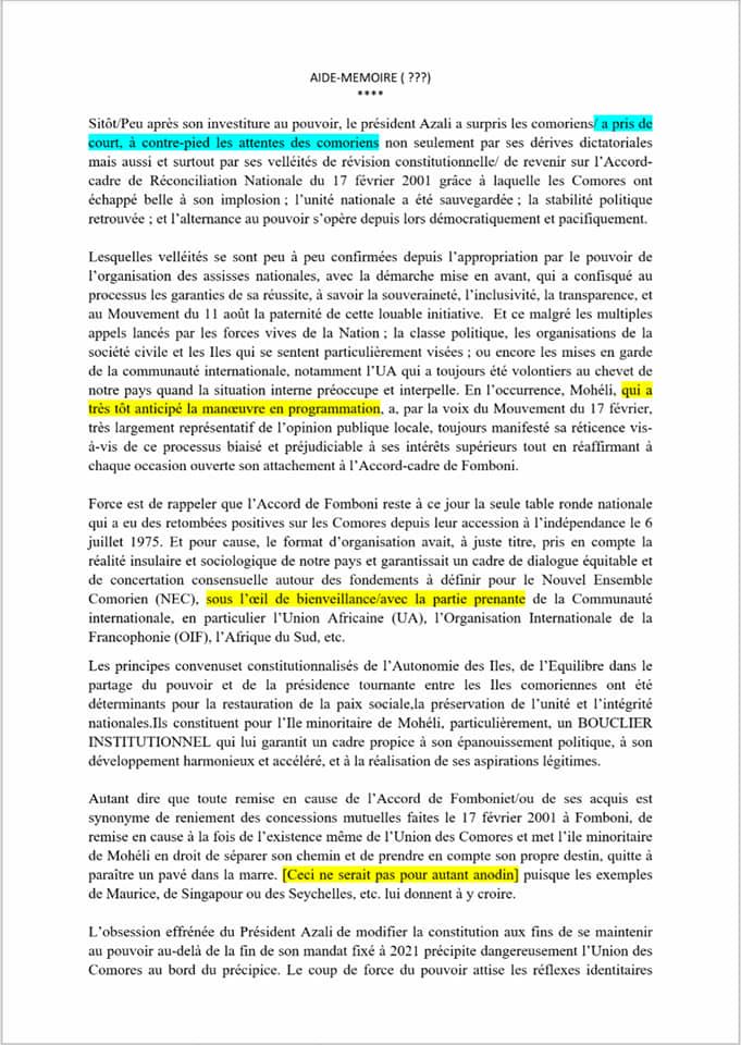 MOHELI : Le Mouvement du 17 Février, qui réunit la majorité des responsables politiques ayant occupé des fonctions nationales menace de s'engager dans la rupture avec l'Union des Comores.