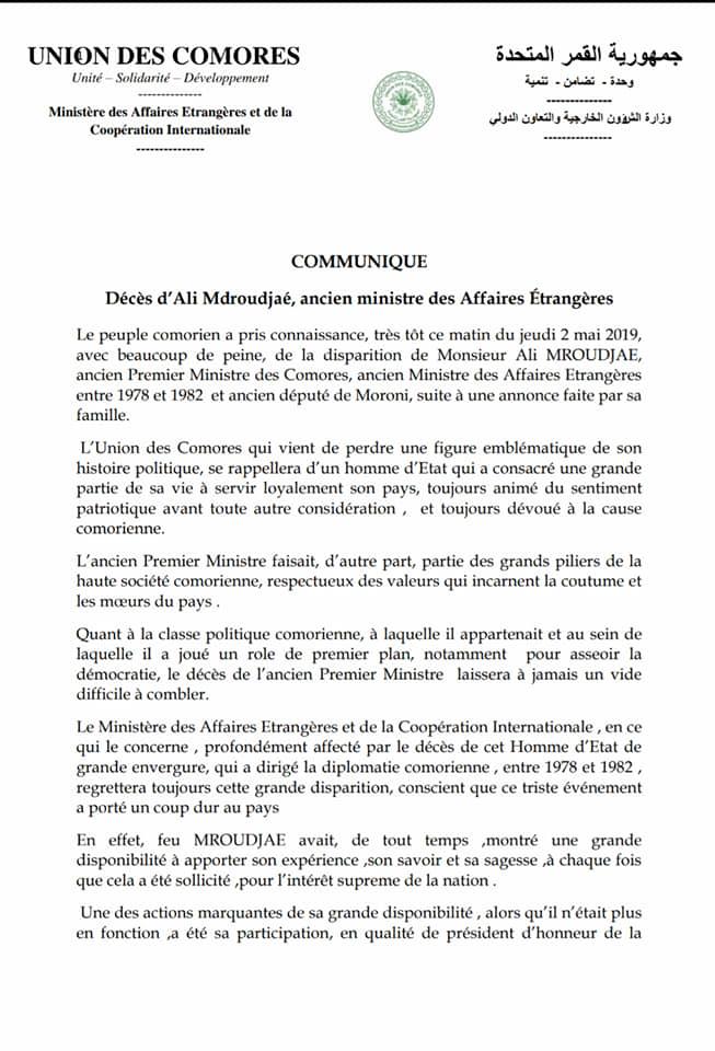 Communiqué du Ministère des Affaires Étrangères sur le décès de M. Mroudjae