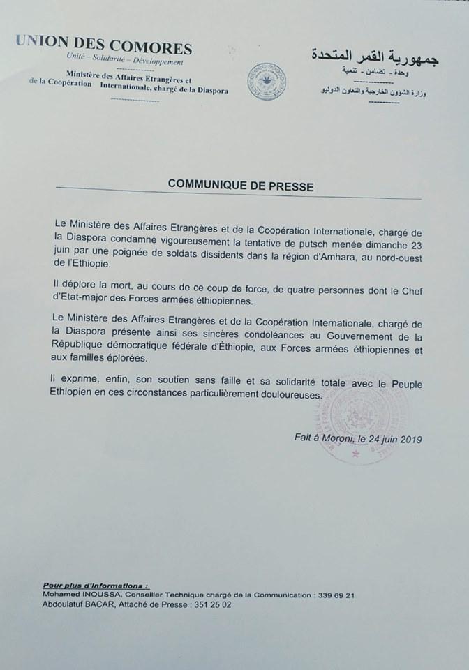 Communiqué de Presse du Ministère des Affaires Étrangères sur l'Éthiopie