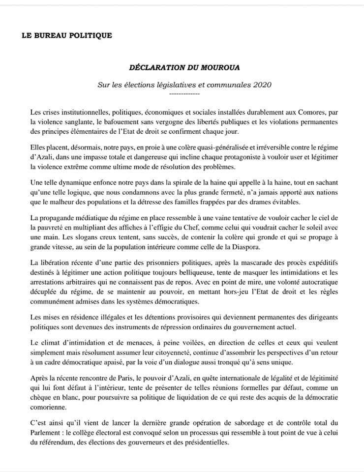 Déclaration du Parti Mouroua