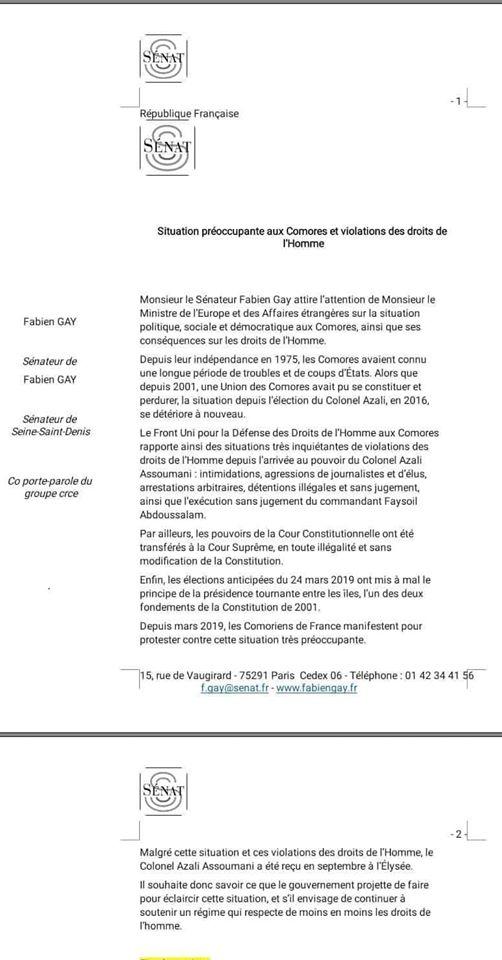 Au Sénat français on s' intéresse à nous.