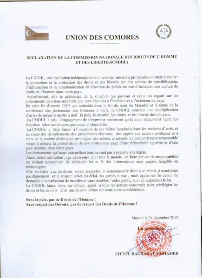 HaYba DROITS DE L'HOMME Déclaration de la Commission Nationale des Droits de l'Homme