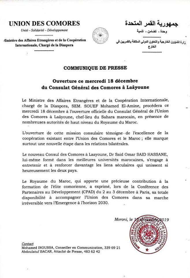 Ouverture d'un consulat général des Comores à Lakyoune