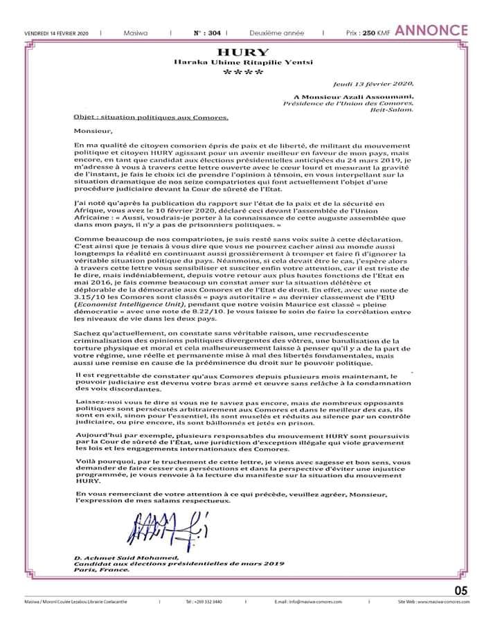 Lettre du Dr Achmet Saïd Mohamed au Président Azali Assoumani