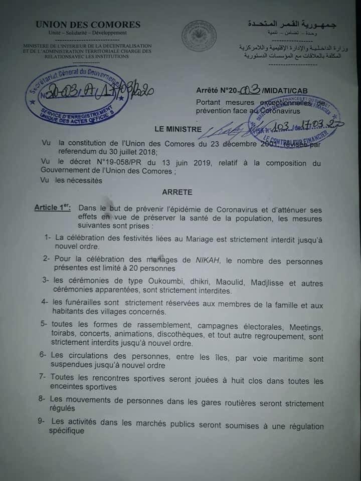 HaYba COVID 19 Arrêté du Ministère de l'intérieur