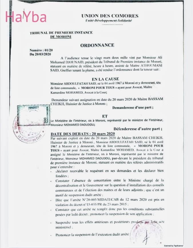 HaYba POLITIQUE Le Conseil Municipal de Kiki Bloqué.