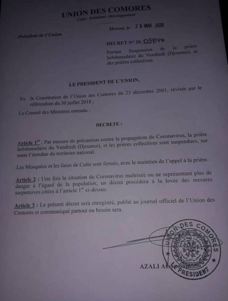 HaYba CORONAVIRUS  Dernier décret du Président Azali