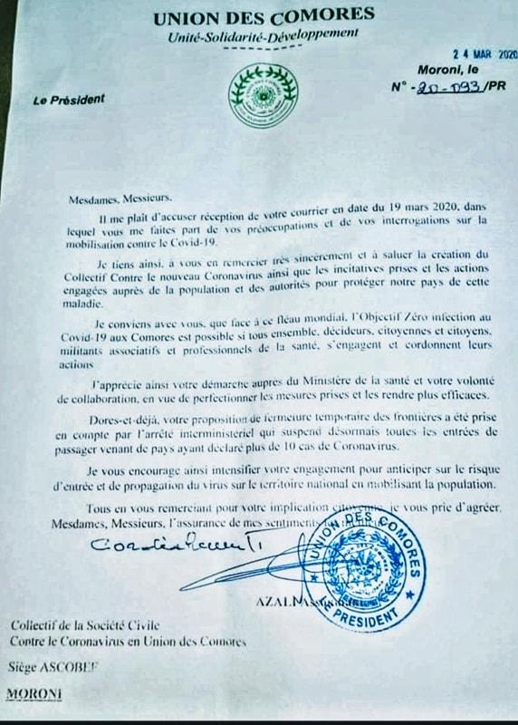 HaYba CONTRE LE COVID 19 Le Président Azali a répondu au Collectif des Associations de la Société Civile contre le COVID19