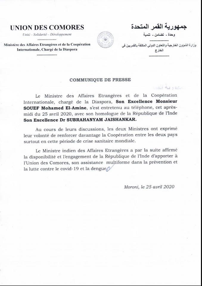 Communiqué du Ministère des Affaires Étrangères