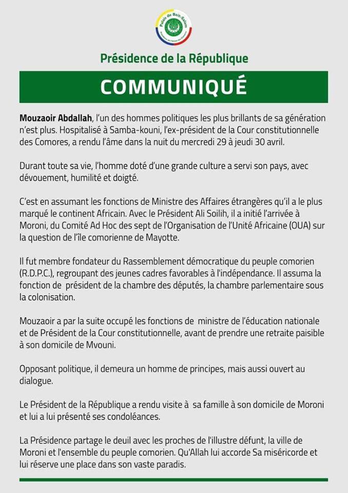 Décès de M. Mouzaoir Abdallah. Communiqué de la Présidence de la République.