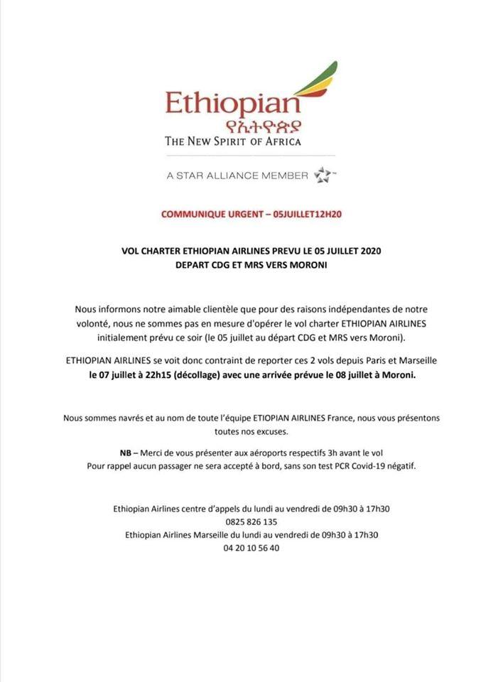 HaYba TRANSPORTS  Communiqué d'Ethiopian