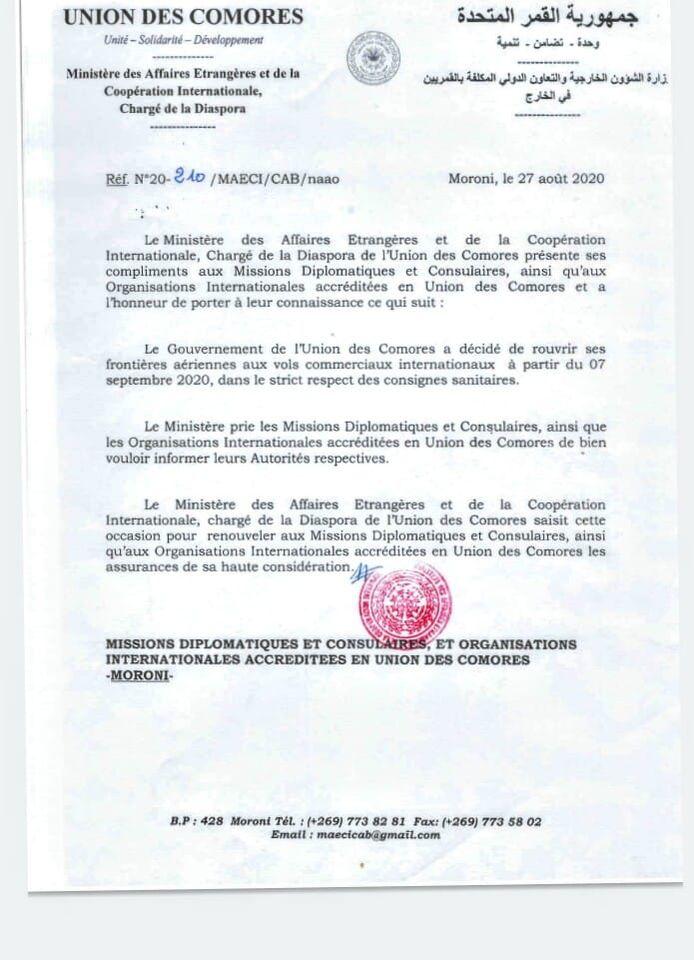 Note du Ministère des Affaires Étrangères Sur l'Ouverture des Frontières