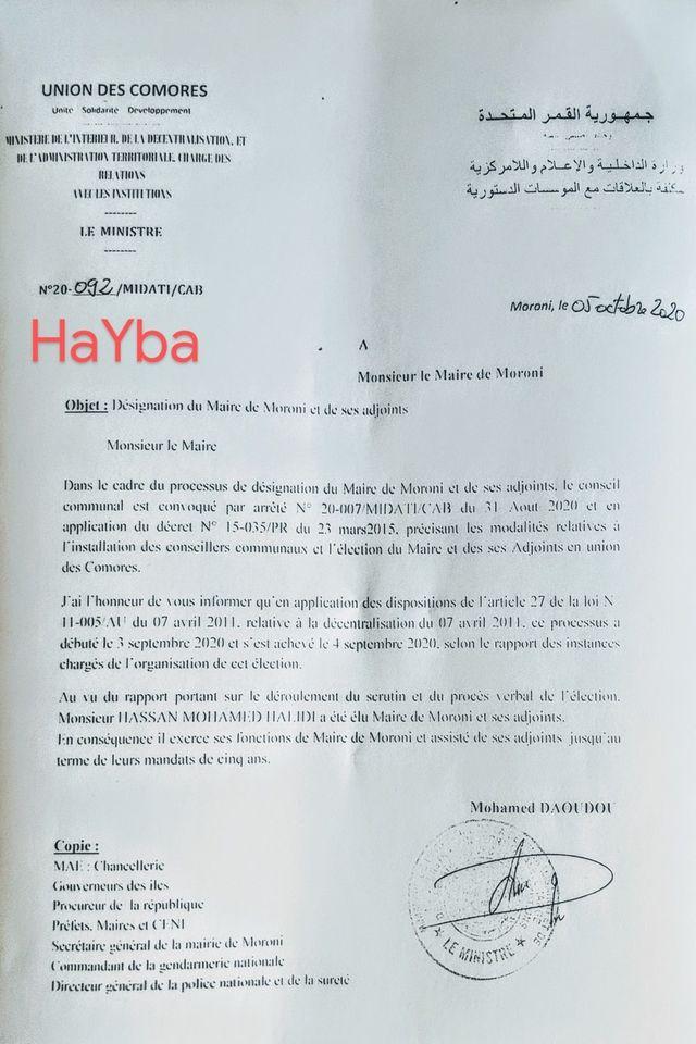 HaYba SAGA de La MUNICIPALITÉ de Moroni